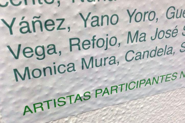 Detalle de la lista de los artistas participantes en la Exposición.