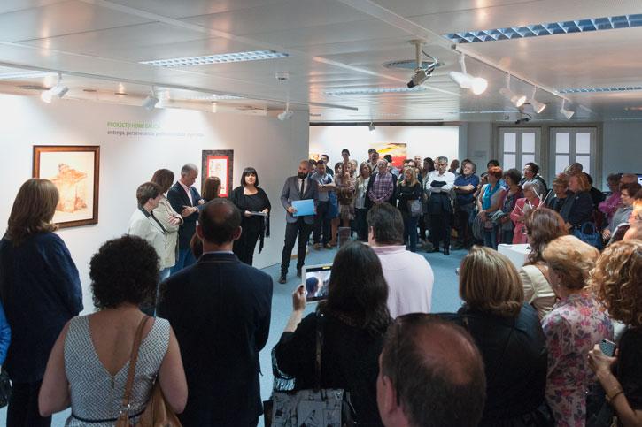 """Acto de presentación de la VII Exposición """"ARTE E SOLIDARIEDADE"""" en la sede de Afundación, Obra Social Abanca, Lugo."""