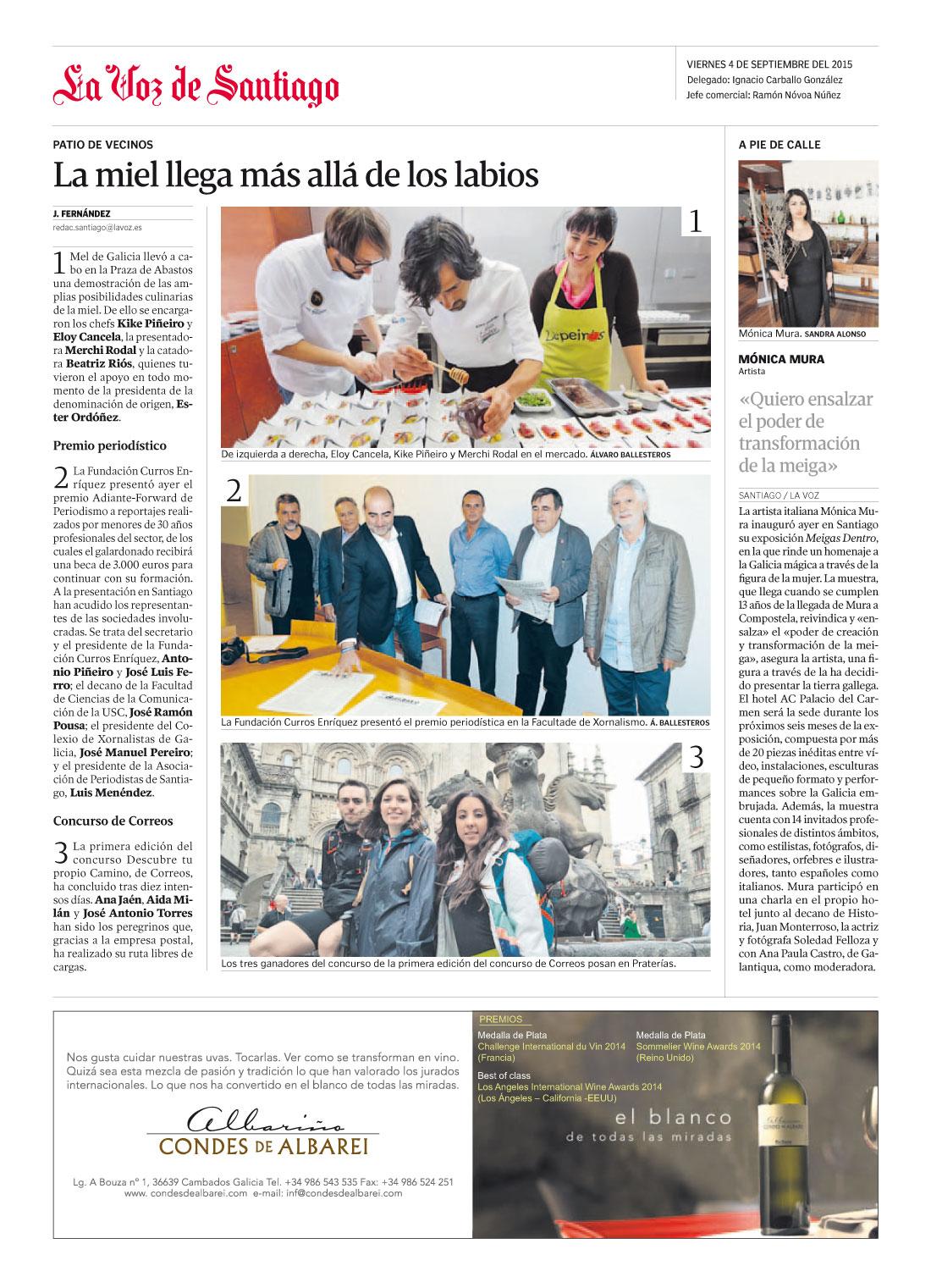 LaVozDeGalicia_MonicaMura-QuieroEnsalzarElPoderTransformadorDeLaMeiga_4Sept2015-papel