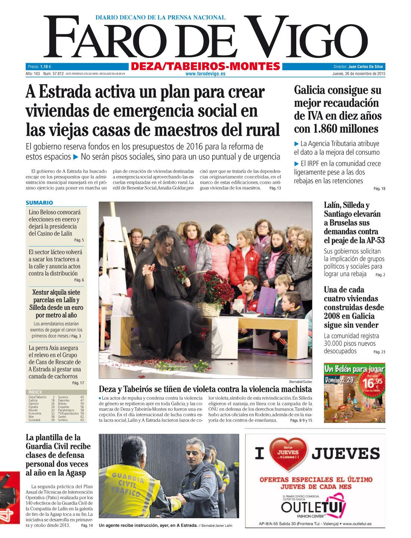Portada Faro De Vigo 25N Mulleres en Acción ViolenciaZero - 26 Noviembre 2015